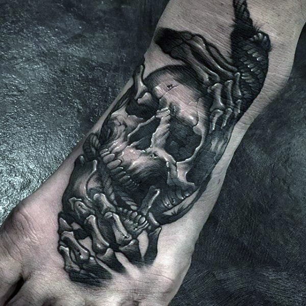Skull Skeleton Hand Guys Modern Foot Tattoos