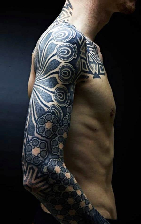 Blue Pattern Sleeve Tattoos