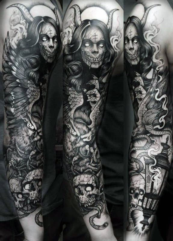 Skull Sleeves Male Tattoos Demon Themed