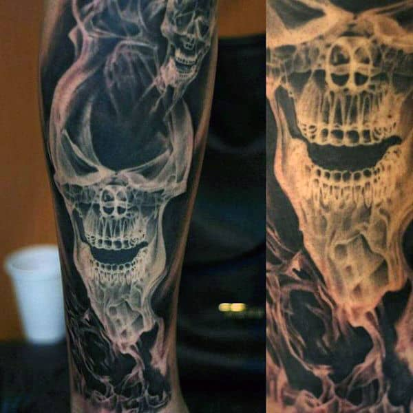 Skull Smoke Mens Fire Black And White Ink Sleeve Tattoo