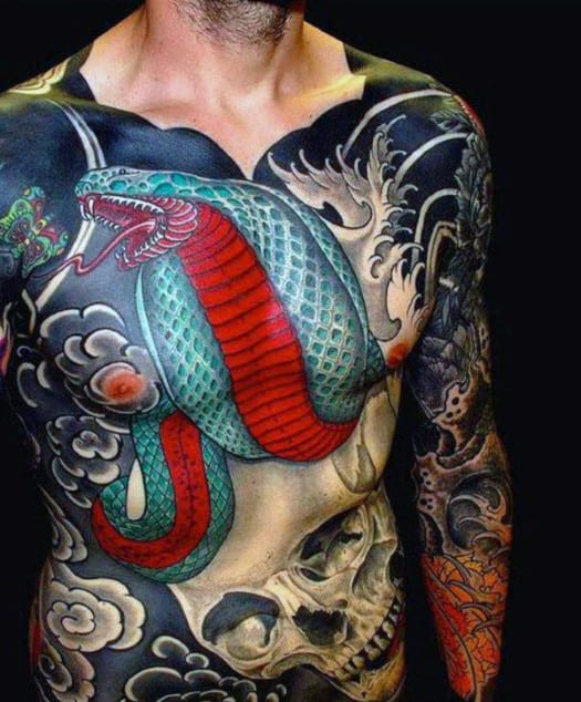 Skull And Snake Guy's Japanese Tattoos