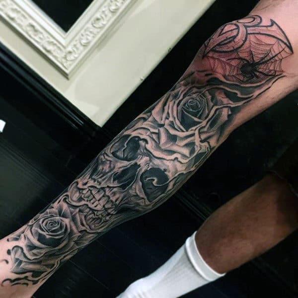 Skull Spider Web Mens Leg Sleeve Tattoos