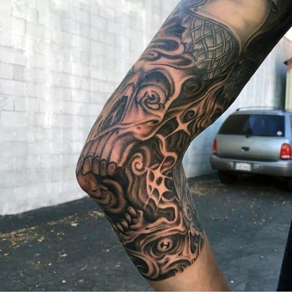 Skull Tattoo Elbow For Men