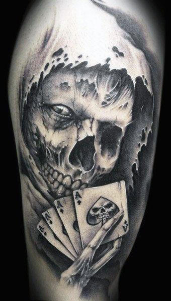 Skull Playing Cards Tattoo Guy
