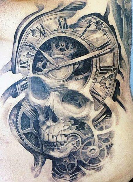 Clock Gears And Skull Tattoo Ideas