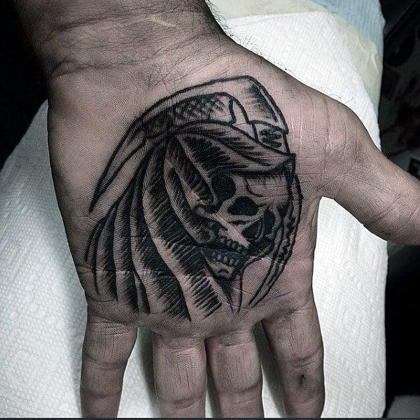 Skull Tattoo Male Palms