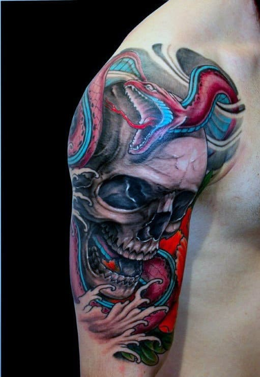 Manly Colorful Skull Tattoo