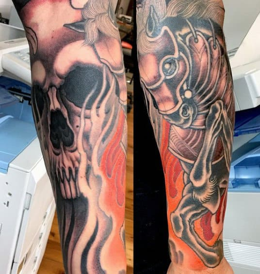Skull Tattoos Flames For Males