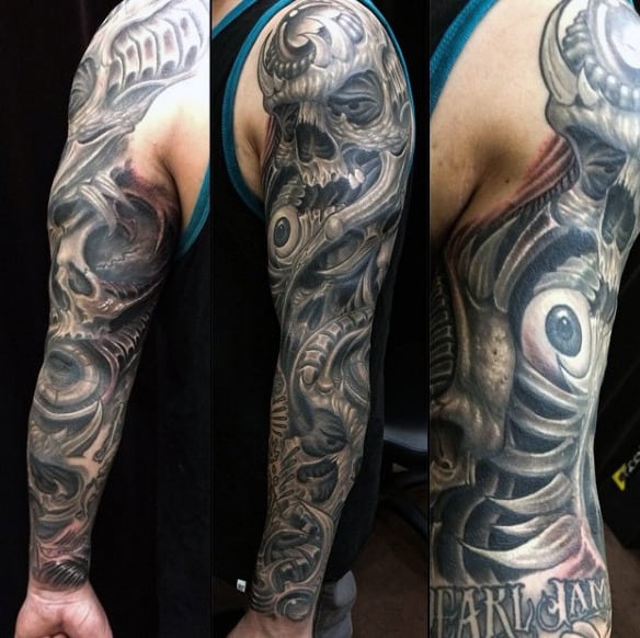 Skull Tattoos For Men Sleeves With Eye 3d Design