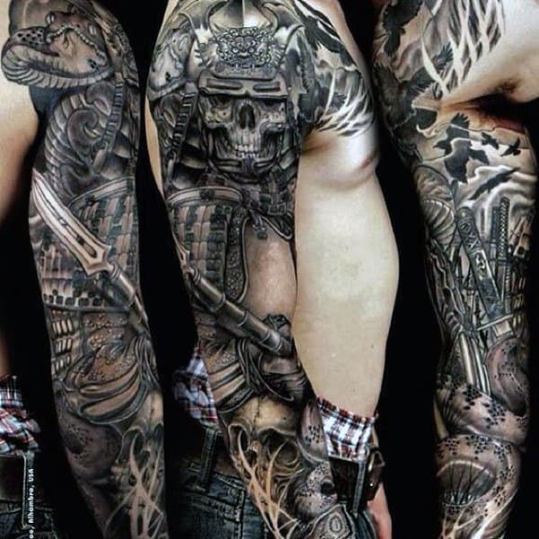 Skull Tattoos Guys Arm Sleeve Samurai Themed