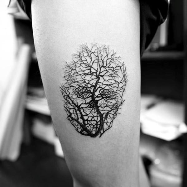 Skull Tree Branches Creative Optical Illusion Tattoos For Men