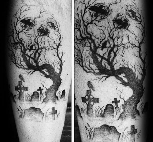 Skull Tree Male Tattoos