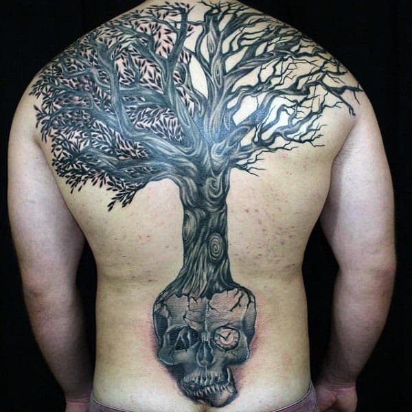 Skull Tree Of Life Mens Full Back Tattoo
