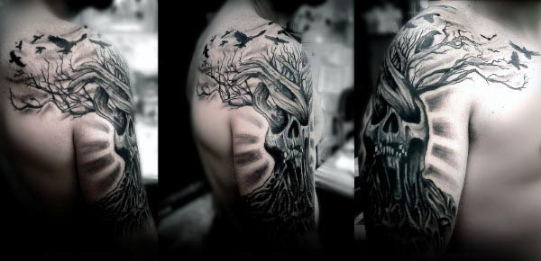 Skull Tree Of Life Mens Manly Arm Tattoos