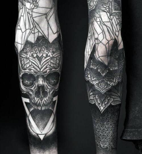 Skull Triangle Blackwork Mens Half Sleeve Tattoos