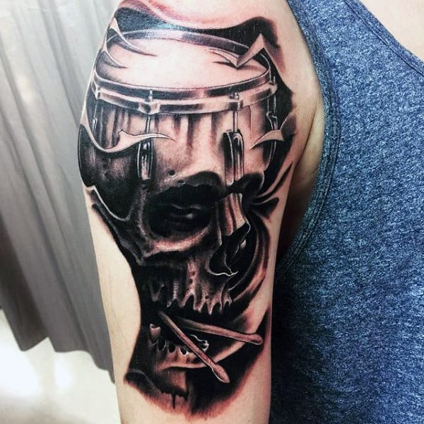 Skull Upper Arm Drum Tattoos For Guys