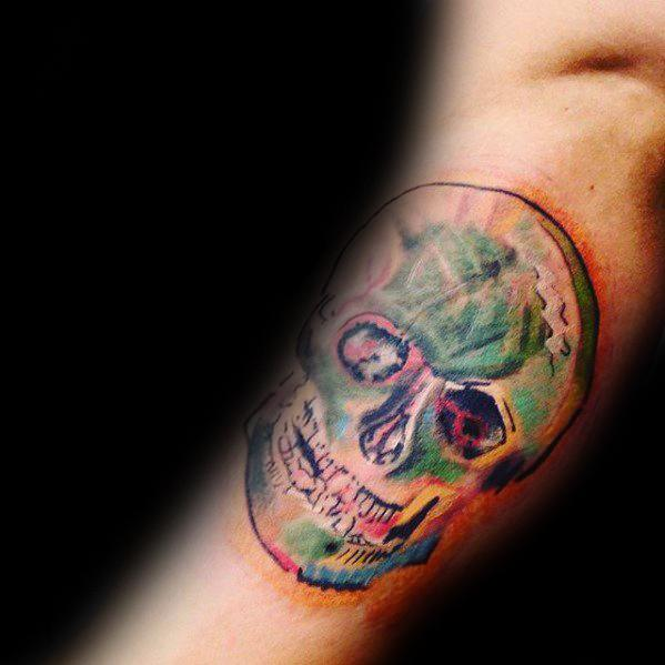 Skull Vincent Van Gogh Mens Colorful Inner Arm Bicep Tattoo