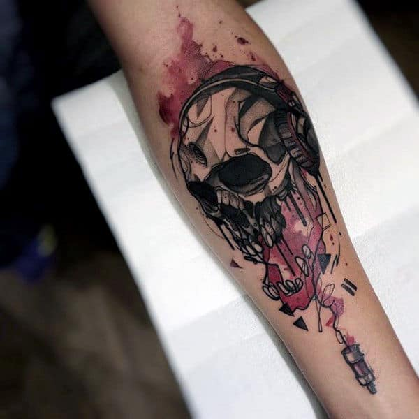 Skull Watercolor Tattoo On Forearms For Men
