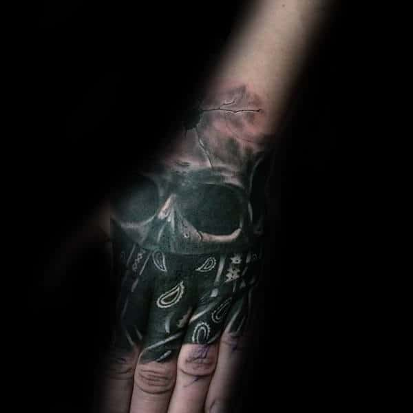 Skull Wearing Bandana Mens Hand Tattoo