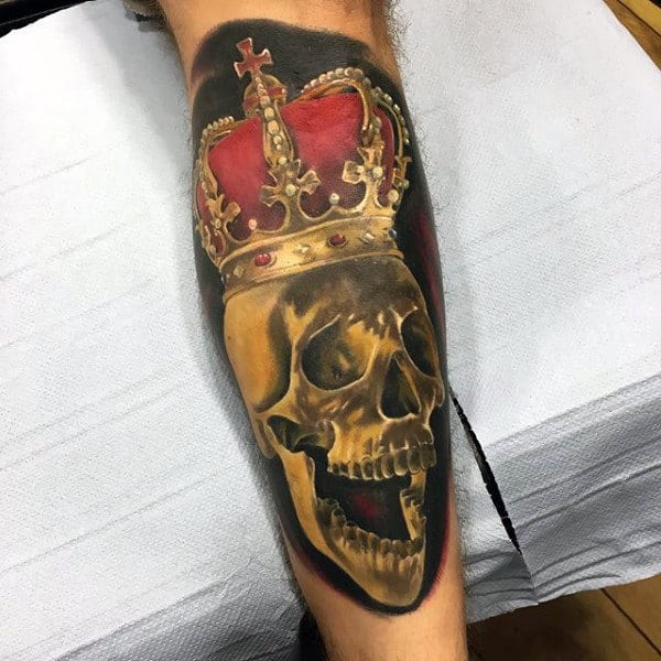 Skull Wearing Crown Mens Shin Tattoo Ideas