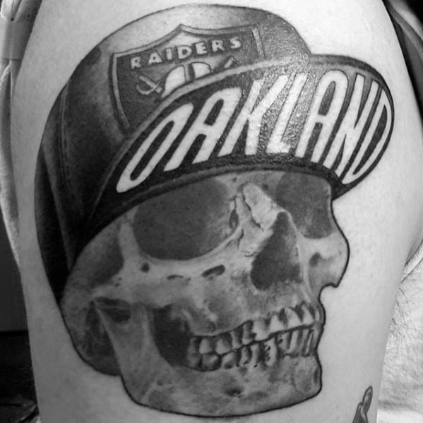 Skull Wearing Oakland Raiders Hat Mens Arm Tattoo