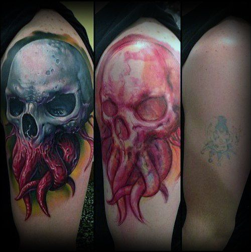 Skull Wih Octopus Tentacles Tattoo Cover Up Ideas