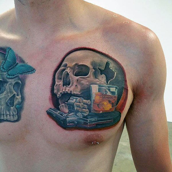 Skull With 3d Design Mens Jack Daniels Tattoo On Chest