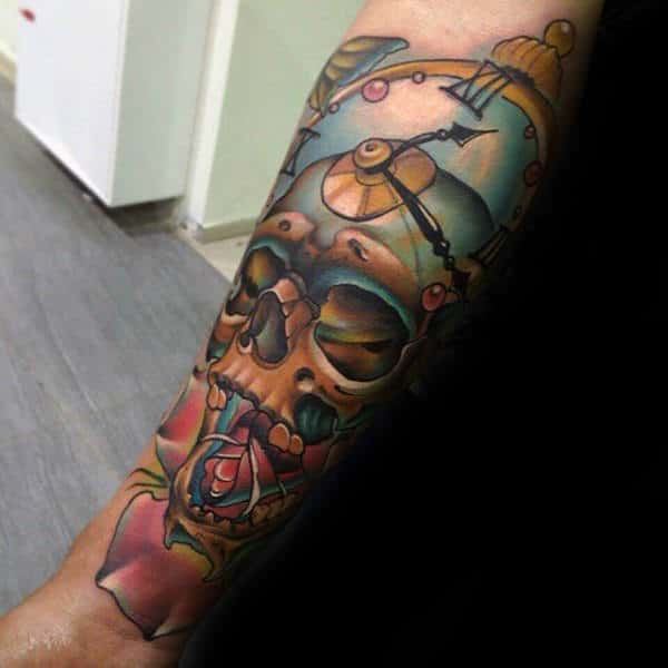 Skull With A Clock Head New School Tattoo Forearms