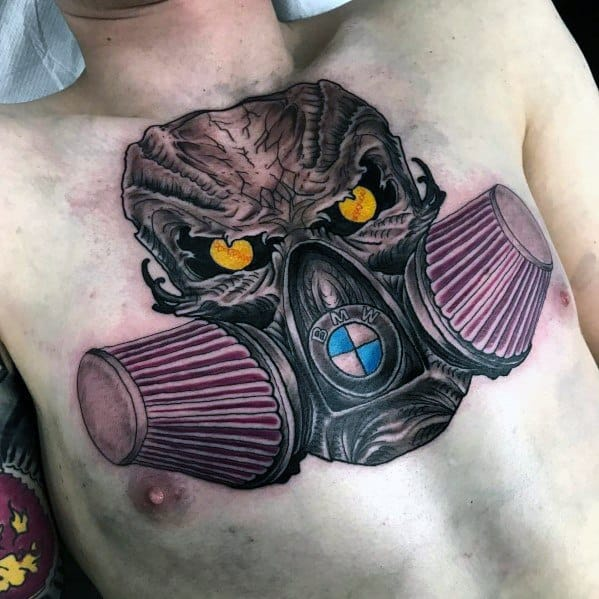 Skull With Air Filters Chest Bmw Themed Tattoo Design Inspiration