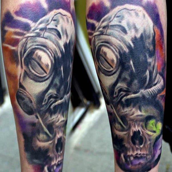 Skull With Alien Gas Mask Tattoo For Men On Forearm