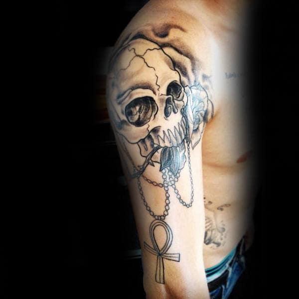 Skull With Ankh On Chain Mens Arm Tattoo