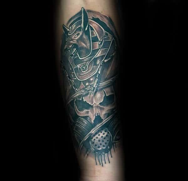 Skull With Anubis Mens Forearm Tattoos