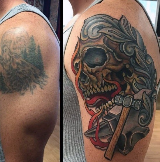 Skull With Anvil And Hammer Cover Up Arm Tattoos For Men