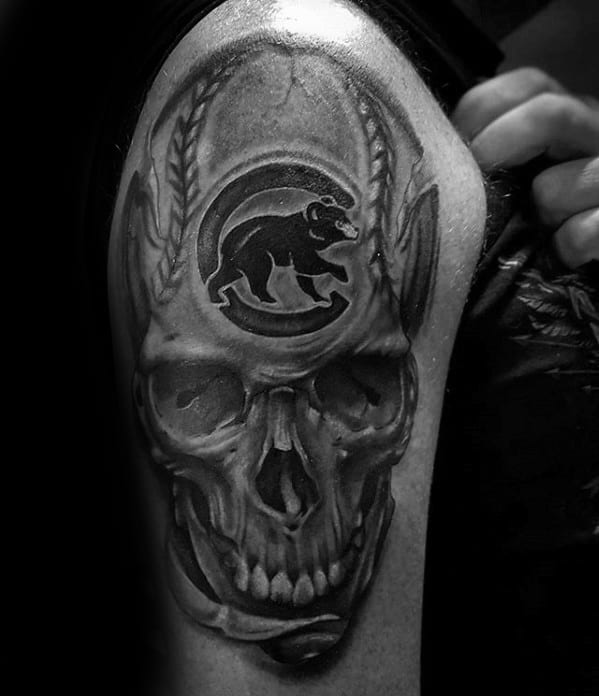 Skull With Baseball Black And Grey Ink Arm Chicago Cubs Guys Tattoo Ideas