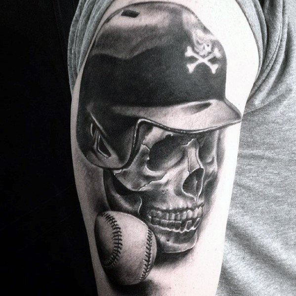 Skull With Baseball Hat Cool Male Sports Tattoo Designs
