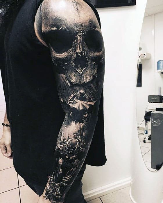 Skull With Batman Themed Design Mens 3d Sleeve Tattoo