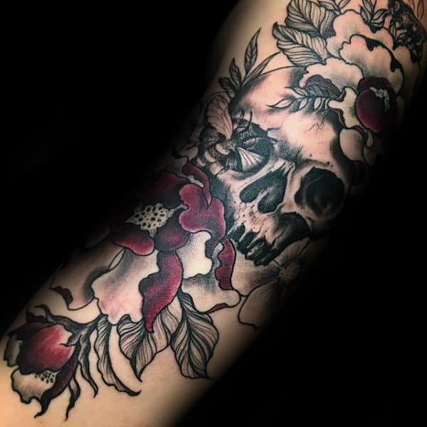 Skull With Bee And Flowers Mens Arm Tattoos