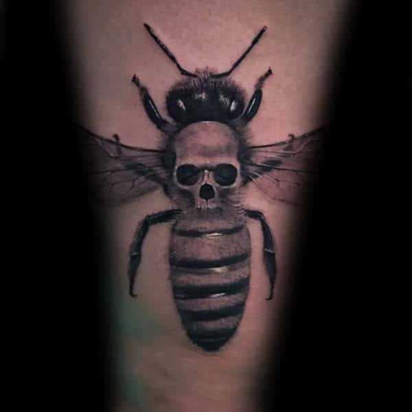 Skull With Bee Mens Unique Arm Tattoos