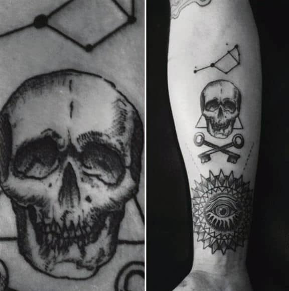 Skull With Big Dipper Constillation Mens Inner Forearm Tattoo