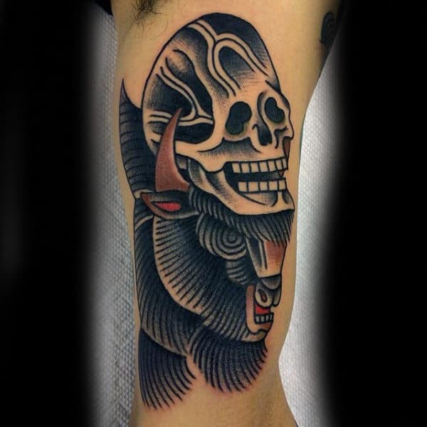 Skull With Bison Old School Mens Arm Tattoos