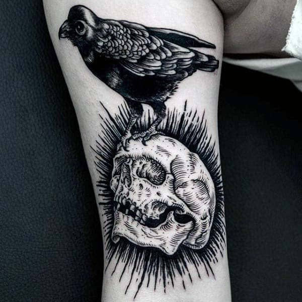 Skull With Black Crow Woodcut Male Tattoo Ideas