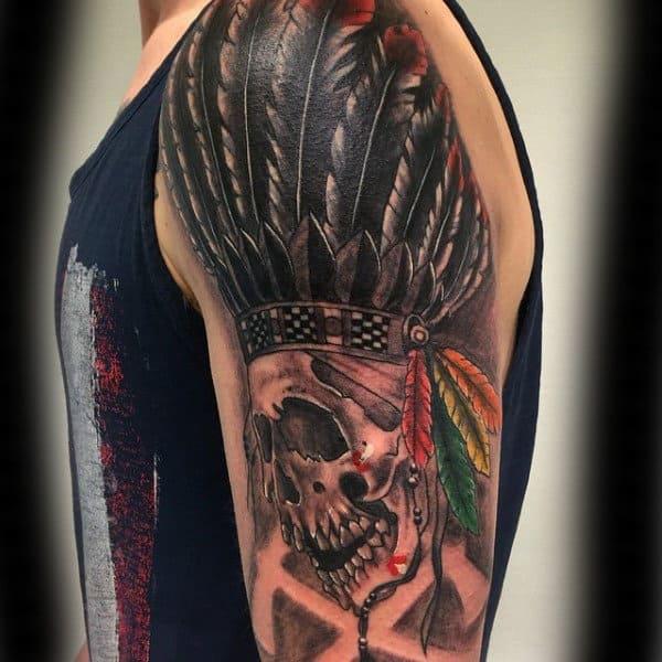Skull With Black Feathers Chicago Blackhawks Mens Half Sleeve Tattoos