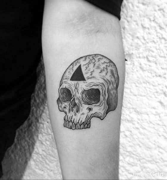Skull With Black Ink Triangle Male Inner Forearm Small Tattoos
