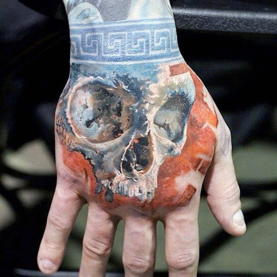 Skull With Blue And Orange Design Mens 3d Hand Tattoo
