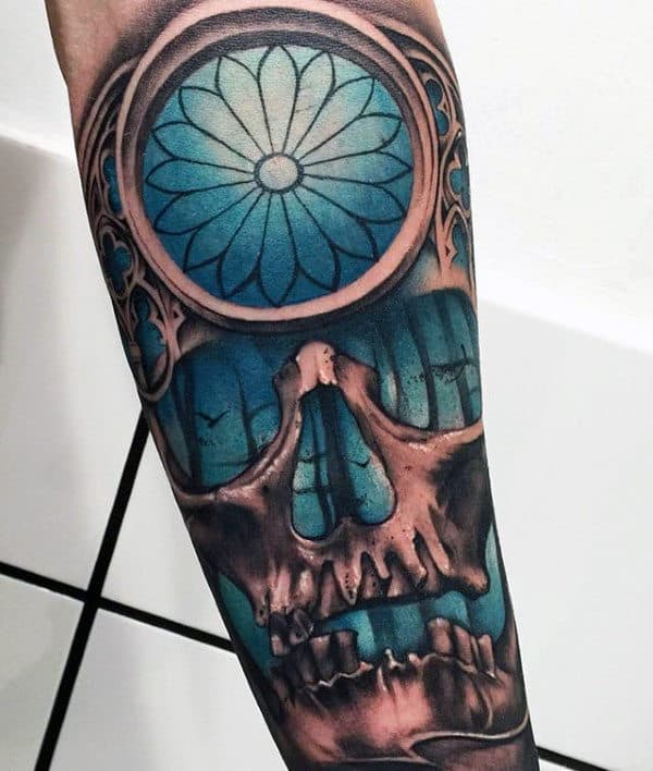 Skull With Blue Window Mens Crazy 3d Tattoo Inspiration On Forearm