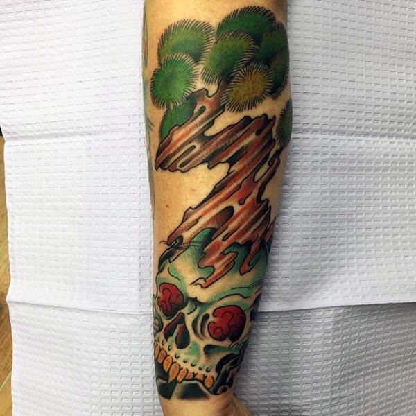Skull With Bonsai Tree Mens Forearm Tattoo