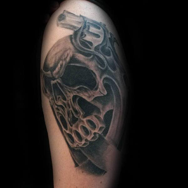 Skull With Brass Knuckles Male Shaded Arm Tattoos
