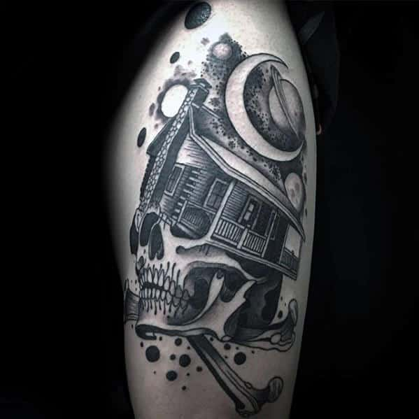 Skull With Cabin Guys Arm Tattoo