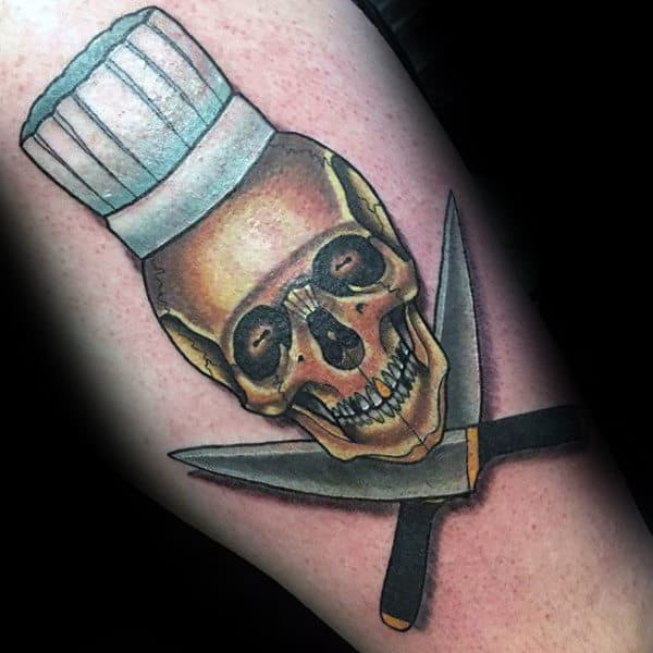 Skull With Chef Hat And Culinary Tools Tattoo Male Forearms