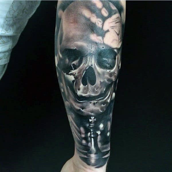 Skull With Chess And Handprint Mens Sleeve Tattoos